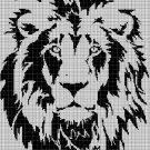 Lion head silhouette cross stitch pattern in pdf