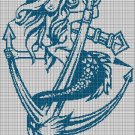 Mermaid with anchor silhouette cross stitch pattern in pdf