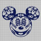 Mickey Head with flowers silhouette cross stitch pattern in pdf