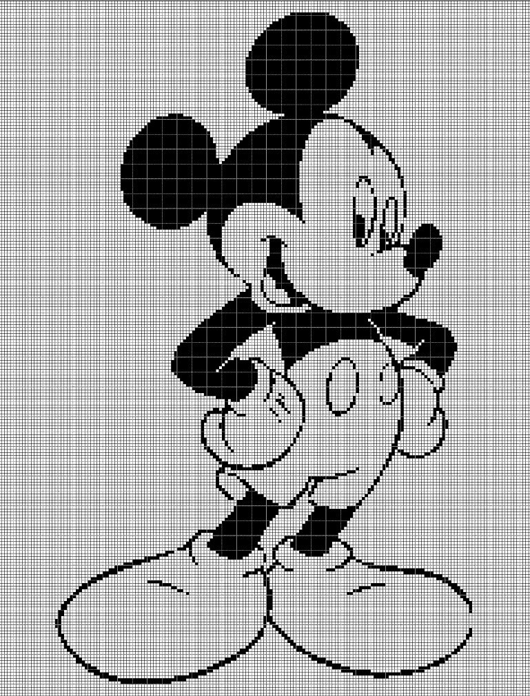 Mickey Mouse silhouette cross stitch pattern in pdf