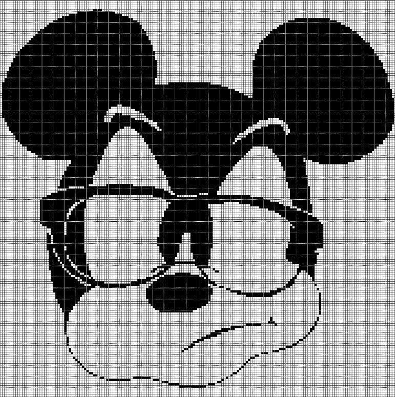 Mickey Mouse in glasses silhouette cross stitch pattern in pdf