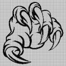 Monster hand silhouette cross stitch pattern in pdf