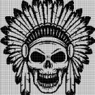 Native American skull silhouette cross stitch pattern in pdf