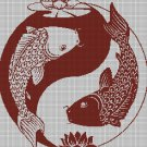 Fishes yin-yang DMC cross stitch pattern in pdf DMC