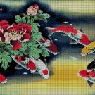 Koi Fishes and Flowers DMC cross stitch pattern in pdf DMC