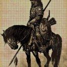Mongolian warrior DMC cross stitch pattern in pdf DMC