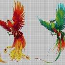 Phoenix bird couple DMC cross stitch pattern in pdf DMC