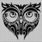Owl head silhouette cross stitch pattern in pdf