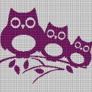 Owls silhouette cross stitch pattern in pdf