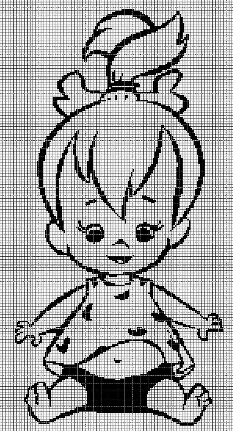Pebbles Flintstone silhouette cross stitch pattern in pdf