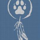 Pet Paw Dreamcatcher silhouette cross stitch pattern in pdf