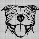 Pitbull head silhouette cross stitch pattern in pdf
