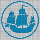 Sailing Ship silhouette cross stitch pattern in pdf