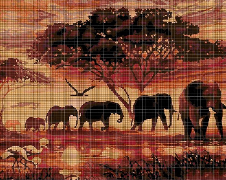 Africa DMC cross stitch pattern in pdf DMC