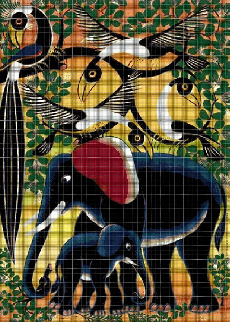 African animals DMC cross stitch pattern in pdf DMC