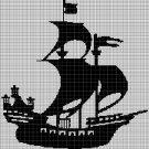 Ship silhouette cross stitch pattern in pdf