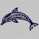 Tribal Dolphin silhouette cross stitch pattern in pdf