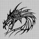 Tribal dragon head silhouette cross stitch pattern in pdf
