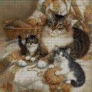 Cat family DMC cross stitch pattern in pdf DMC