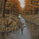 Deer by the stream DMC cross stitch pattern in pdf DMC