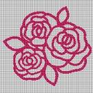 3 roses silhouette cross stitch pattern in pdf