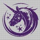 Unicorn head silhouette cross stitch pattern in pdf