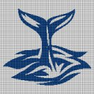 Whale's tail silhouette cross stitch pattern in pdf