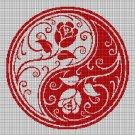 Yin-Yang roses silhouette cross stitch pattern in pdf