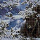Bear in winter DMC cross stitch pattern in pdf DMC