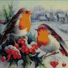Birds in snow DMC cross stitch pattern in pdf DMC