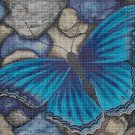 Blue butterfly DMC cross stitch pattern in pdf DMC