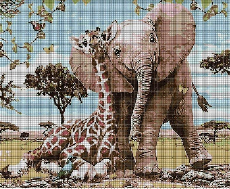 Funny Africa DMC cross stitch pattern in pdf DMC