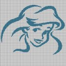 Ariel face silhouette cross stitch pattern in pdf