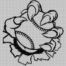 Baseball in monster claw silhouette cross stitch pattern in pdf