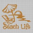 Beach life silhouette cross stitch pattern in pdf