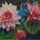 Water lilies DMC cross stitch pattern in pdf DMC