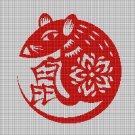 Chinese rat symbol silhouette cross stitch pattern in pdf