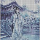 Chinese lady on blue backgrounds DMC cross stitch pattern in pdf DMC