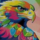 Colored eagle DMC cross stitch pattern in pdf DMC