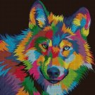 Colorful wolf DMC cross stitch pattern in pdf DMC