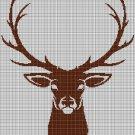 Deer head 2 silhouette cross stitch pattern in pdf