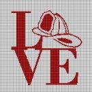 Firefighter love silhouette cross stitch pattern in pdf