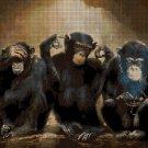 Three wise monkeys DMC cross stitch pattern in pdf DMC
