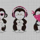 Three wise monkeys2 DMC cross stitch pattern in pdf DMC