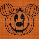 Halloween mickey pumpkin silhouette cross stitch pattern in pdf
