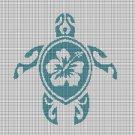 Hawaiian turtle silhouette cross stitch pattern in pdf