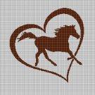 Horse love silhouette cross stitch pattern in pdf