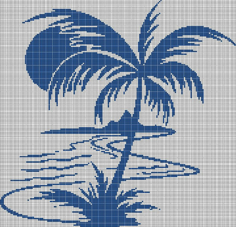 Island with palm silhouette cross stitch pattern in pdf