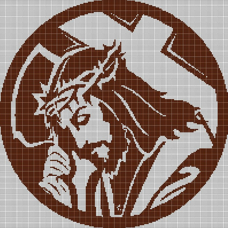 Jesus with cross silhouette cross stitch pattern in pdf