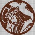 Jesus with cross silhouette cross stitch pattern in pdf